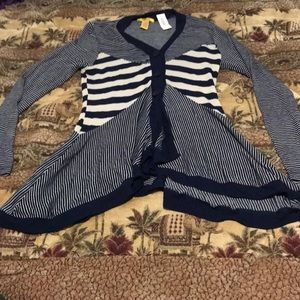 Navy Blue and cream striped cardigan